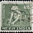 Stock Photo: INDIA- CIRC1965:stamp printed in Indishows image of tepickers, circ1965.