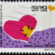 ISRAEL - CIRCA 1989: A stamp printed in Israel shows heart and words With Love, circa 1989 — Stock Photo