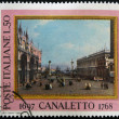 Постер, плакат: ITALY CIRCA 1968: a stamp printed in Italy celebrates the bicentenary of the death of Canaletto the italian painter famous for his landscapes of Venice circa 1968