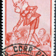 Постер, плакат: ITALY CIRCA 1954: A stamp printed in Italy shows Pinocchio circa 1954