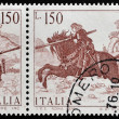 ITALY - CIRCA 1976: A stamp printed in Italy shows St. George slaying the dragon by Vittore Carpaccio, circa 1976 — Stock Photo