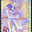 JAPAN - CIRCA 1998: A stamp printed in Japan commemorating 100 years of friendship between Argentina and Japan, shows a couple dancing tango, circa 1998 — Stock Photo