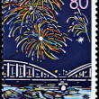 Stock Photo: JAPAN - CIRC1999: stamp printed in Japan, prefecture Hokkaido, salute over SumidRiver, circ1999