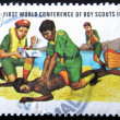 MALDIVE ISLANDS CIRCA 1973: stamp printed by Malldive Islands, shows boy scouts Lifesaving, circa 1973 — Foto de Stock
