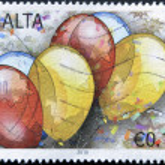 MALTA - CIRCA 2010: A stamp printed in alta shows ballons, circa 2010 — Stock Photo
