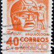 Royalty-Free Stock Photo: MEXICO - CIRCA 1951: A stamp printed in the Mexico, shows a giant stone head Olmec, La Venta, circa 1951