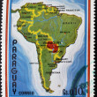 Stock Photo: PARAGUAY - CIRC1970: stamp printed in Paraguay shows map of Latin America, circ1970