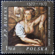 POLAND - CIRCA 1977: A stamp printed in the bulgaria shows fragment of draw of artist Peter Paul Rubens from Dresden National Art Collection , circa 1977 — Stock Photo