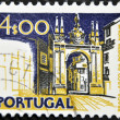 PORTUGAL - CIRCA 1972: A stamp printed in Portugal shows arc of the new gate, Braga, circa 1972 - Foto de Stock