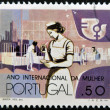 PORTUGAL - CIRCA 1975: A stamp printed in Portugal dedicated to international year of women, shows a nurse, circa 1975 — Stock Photo