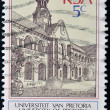 SOUTH AFRICAN - CIRCA 1980: A stamp printed in RSA shows university of Pretoria, circa 1980 - Foto de Stock