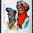 RWANDA - CIRCA 1969: A stamp printed in Rwanda shows African headdresses, circa 1969 — Stock Photo