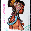 RWANDA - CIRCA 1969: A stamp printed in Rwanda shows African headdresses, circa 1969 - Stock Photo