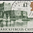 UNITED KINGDOM - CIRCA 1988: a stamp printed in the Great Britain shows Carrickfergus Castle, circa 1988 — Stock Photo
