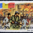 ROMANIA - CIRCA 1990: stamp printed in Romania dedicated to popular revolution shows Palace on fire, Bucharest, circa 1990 — Stock Photo