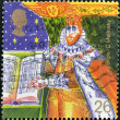 UNITED KINGDOM - CIRCA 1999: A stamp printed in Great Britain shows the King James I of England with the Bible, circa 1999 — Stock Photo