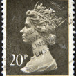UNITED KINGDOM - CIRCA 1970: An English stamp printed in Great Britain shows Portrait of Queen Elizabeth, circa 1970. — Stock Photo