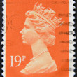 UNITED KINGDOM - CIRCA 1971: An English stamp printed in Great Britain shows Portrait of Queen Elizabeth, circa 1971. - Stock Photo