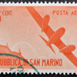Stock Photo: SAN MARINO - CIRC1950: stamp printed in SMarino shows aircraft in flight, circ1950