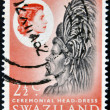 Stock Photo: SWAZILAND - CIRC1975: stamp printed in Swaziland dedicated to ceremonial head-dress, circ1975
