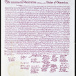 UNITED STATES OF AMERICA - CIRCA 1975: A postcard back printed in 1975 shows United States Declaration of Independence, circa 1975 — Stock Photo