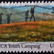 UNITED STATES OF AMERICA - CIRCA 1985: A stamp printed in USA shows YMCA youth camping, circa 1985 — Stock Photo