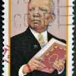 Stock fotografie: US- CIRC1997 : stamp printed in USshow Carter Godwin Woodson was African-Americhistorian, author, journalist, black heritage, circ1997