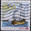 UNITED STATES - CIRC2006:stamp printed in USshows clouds, champlain surveys east coast, circ2006 — Stock Photo #9451652
