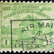 UNITED STATES OF AMERICA - CIRCA 1933: A stamp printed in USA shows Fort Dearborn Chicago Century of Progress, now Chicago, circa 1933 — Stock Photo