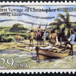 UNITED STATES OF AMERICA - CIRCA 1992: A stamp printed in USA dedicated to first voyage of christopher columbus, shows coming ashore, circa 1992 — Stock Photo