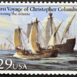 UNITED STATES OF AMERICA - CIRCA 1992: A stamp printed in USA dedicated to first voyage of christopher columbus, shows crossing the atlantic, circa 1992 — Stock Photo