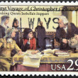UNITED STATES OF AMERICA - CIRCA 1992: A stamp printed in USA dedicated to first voyage of Christopher Columbus, shows seeking queen isabella´s support, circa 1992 — Stock Photo