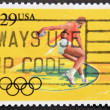 UNITED STATES OF AMERICA - CIRCA 1991: A stamp printed in USA dedicated to Olympic Games of Barcelona 92, shows throwing discus, circa 1991 — Stock Photo