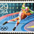 UNITED STATES OF AMERICA - CIRCA 1992: A stamp printed in USA dedicated to Winter Olympics, shows speed, circa 1992 — Stock Photo