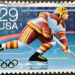 UNITED STATES OF AMERICA - CIRCA 1992: A stamp printed in USA dedicated to Winter Olympics, shows hochey, circa 1992 — Stock Photo