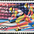 UNITED STATES OF AMERICA - CIRCA 1992: A stamp printed in USA dedicated to Winter Olympics, shows bob-sledding, circa 1992 — Stock Photo