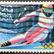 UNITED STATES OF AMERICA - CIRCA 1992: A stamp printed in USA dedicated to Winter Olympics, shows a man skiing, circa 1992 — Stock Photo