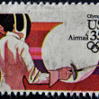 Stock Photo: US- CIRC1984 : stamp printed in USdedicated to Olympics 84, fencing, circ1984