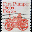 UNITED STATES OF AMERICA - CIRCA 1981: a stamp printed in USA shows Fire pumper 1860s, fire truck, circa 1981 — Stock Photo