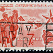 UNITED STATES - CIRCA 1959: A stamp printed in USA shows Alii Warrior, Map of Hawaii and Star of Statehood, circa 1959 — Stock Photo