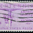 Stock Photo: UNITED STATES OF AMERIC- CIRC1957: stamp printed in USdedicated to americinstitute of architects, circ1957