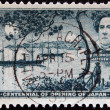 Постер, плакат: USA CIRCA 1953: A stamp printed in the USA shows Commodore Matthew C Perry US Navy Centennial of opening of Japan circa 1953