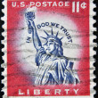UNITED STATES OF AMERICA - CIRCA 1954: A stamp printed in USA shows The Statue of Liberty, circa 1954. — Stock Photo