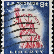 "Stock Photo: US- CIRC1958: Stamp printed in USshows Statue of Liberty, with inscription ""In God we trust"", circ1958"