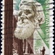 Stock Photo: US- CIRC1964: stamp printed in USshows portrait of John Muir, naturalist and conservationist and Redwood Forest, circ1964