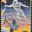 Stock Photo: UNITED STATES OF AMERIC- CIRC1992: stamp printed in USto commemorate achievements in space of both USand Russia, circ1992