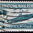 UNITED STATES - CIRCA 1957: stamp printed in USA shows Aircraft Carrier and Jamestown Festival Emblem, circa 1957 — Stock Photo