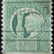 USA - CIRCA 1941: A stamp printed in the USA shows Liberty and words Freedom of speech and religion, from want and fear, circa 1941 — Stock Photo #9452114