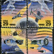 Stock Photo: UNITED STATES OF AMERIC- CIRC1992: stamp printed in USto commemorate achievements in space of both USand Russia