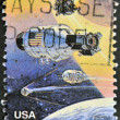 UNITED STATES OF AMERICA - CIRCA 1992: A stamp printed in USA to commemorate the achievements in space of both the USA and Russia, circa 1992 — Stock Photo